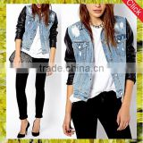Slim fit motorcycle jean coat women biker denim distressed jackets with leather sleeves custom clothing manufacturers