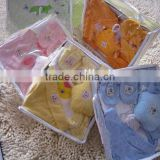 OEM or Stocked ,7PCS/SET Baby Bibs set,Mesh bag baby Baby bibs set,100%cotton bib set ,baby hat gift set