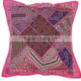 Pink Decorative Euro Pillow Sham - Wood Bead Work Floor Cushion Cover ~ 26 Inch