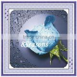 Handmade Blue Flower Pattern Embroidery Diamond Painting DIY Kit Cross Stitch For Living Room 34cmx5cm