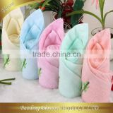 Bamboo Hand Towel HRM Solid Color Bamboo Embroidery Terry Towel Set Handkerchief