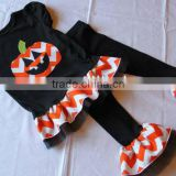 Fast Shipping baby pumpkin halloween outfit festival costume smocked dress with ruffle pant clothing set for kids birthday dress