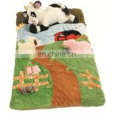 New design 3D style Farm Animals toys wite sheep and plush sleeping bag