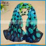 bright green and black annulus print chiffon head scarf
