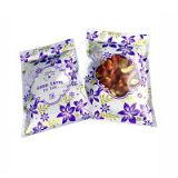 Purple Flower Laminated Mylar Foil Three Side Seal Pouch With Zipper And Clear Window
