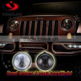 Halo round led headlight 7inch Low High Beam LED jeep wrangler head light with DRL halo lights