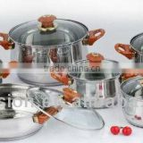 Stainless steel cookware set with glass lid 12Pcs Cookware Sets stainless steel hard anodized pots