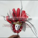 carnival headdress small colwn face mask balck ostrich and red chicken feather headdress