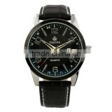 New Men Casual Black Dial Leather Strap Quartz Wrist Watch WM311