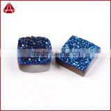 Square and cushipn rose gold blue druzy stones wholesale natural flat agate druzy for jewelry