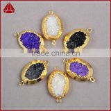 Dazzling gold jewelry 18k druzy oval geode connector amethyst tones crystal druzy pendant with two bails                                                                                         Most Popular