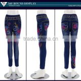 Latest straight leg floral print waist embroidery jeans for women wholesale                                                                         Quality Choice