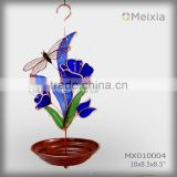 MX010004 garden decor metal bird feeder with dragonfly stained glass craft on top