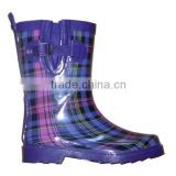 fashion plaid kids rain boots with side buckle,adjustable rubber boots,wholesale cheap rain shoes