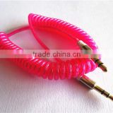 wholesale fashionable flexible dc3.5m to dc3.5m spiral metal transperant cable extend stereo audio aux cable
