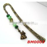 Fashion Dress Metal Bookmark with Green Crystal Beads book jewelry handmade bookmark