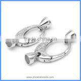 Wholesale 925 Sterling Silver Micro Pave Zircon Lobster Clasp With End Cap For Pearl Jewelry Necklace Bracelet SC-CZ039