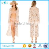 Sample order custom ladies beach dress lace long komono beach cover up