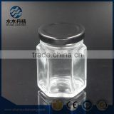 100ml hexagonal food grade glass jars glass storage bottle with black cap                                                                                                         Supplier's Choice