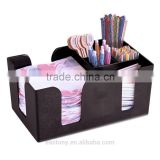 Black ABS Plastic Rectangle Bar Caddy for 6 Compartments - Napkin Straw Stirrer Holder