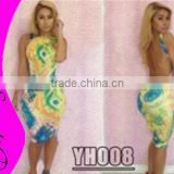 2015 fashion evening dress club wear no sleeveless backless sexy bandage printed bodycon dress
