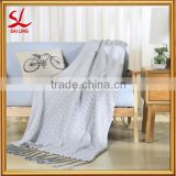 Cozy Cotton Cable Knitted Couch Cover Sofa Throw Blanket Wave Pattern Design with Tassels, Grey, 47*70""