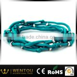 Handmade good quality silver beads silk ribbon bracelet