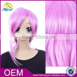 Colorful multi red pink cute tassels Synthetic anime wig japanese hot cosplay wig with horsetail