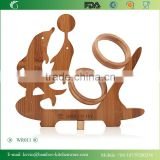 WR011/Natural Solid bamboo wine rack single wooden bottle wine glass holder antique display wine bottle holder