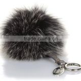 Hot sales fashion faux fur ball with carabiner keychain, fake fur ball keychain, fur pom poms ball keychain