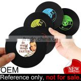 Promotional Custom Soft PVC Retro Turntable Black Vinyl Record Coaster