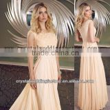 2013 new arrival beaded cap sleeve floor length pleated chiffon peach mother of the bride dresses CWFam5104