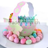 2013 New Favor Box Pastel Colours Paper Lime and Pink Polka Dot Basket For Little Girls Party Favors