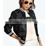 Women Clothing Manufacturer Rib Collar Ligtht Weight Fashion Cool Black baseball jackets