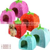 New Arrival Red Foldable Sponge Pet Dog Cat House Tent Bed Strawberry Shape Warm Kennel L