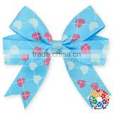 Blue Heart Pattern Grooming Bows Baby Kids Hair Ribbon Boutique Wholesale Style Hair Bows
