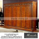 YB29 Italian Antique Carved Wooden Bedroom Furniture, Large 6 Doors Design Wardrobe, Luxury Villa Closet
