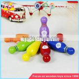 Wholesale mini wooden kids playing bowling toys colorful children wooden bowling set toys W01A293
