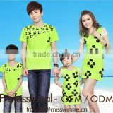 newest style green flower pattern matching family t shirt sets dress set family love clothing sets