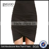 MGOO Latest Design Plain Pleated Knee Length Skirt For Ladies Magic Ruched Wrap Skirt China 15144A014