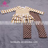 Mustard White Stripy Cardigan And Coffee Polka Trousers Girl Sweet Spring Clothing sets LBYTZ001-40