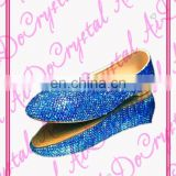 AB Sapphire blue color Luxury Bridal wedding Flats