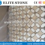 Crema marfil Flower Pattern Mosaic Tile with Thassos white Dots