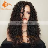Virgin Brazilian Hair Wig With Baby Hair Afro Curly Small and Medium Wig Caps Glueless Kinky Curly Full Lace Hair Wig In Stock