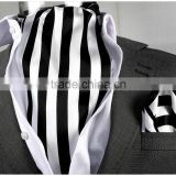 Black White Striped Cravat, Brown scarf, with Pocket Square