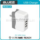 5V 4.9A Output Wall Usb Charger With 4 Usb Ports For Phone And Table PC