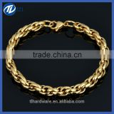 Latest Fashion Stainless Steel Gold Plated High Polished Curb Chain Bracelet for Men Women