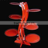 wood grain rotating jewelry display stand/pendant floor wood jewelry display/acrylic floor stand showcase for jewelry