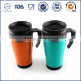 Double wall vacuum flask thermos/plastic coffee mug with handle