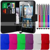 Leather stand wallet mobile phone case cover, stylus pen with LCD film for Huawei Ascend Y300